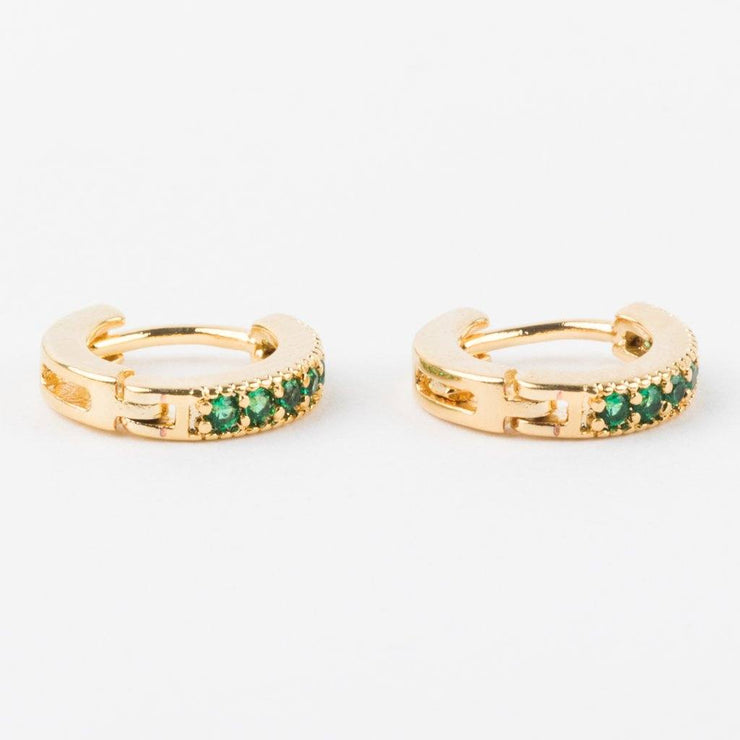 Dallas Mini Huggie Earrings in Emerald - earrings - Five and Two local eclectic