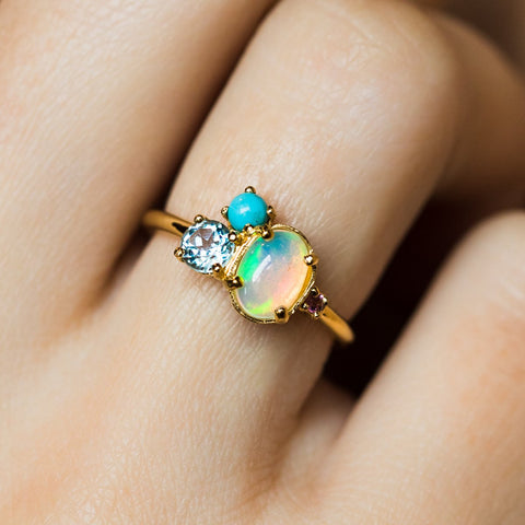 Mila Opal Cluster Band - rings - Minette local eclectic