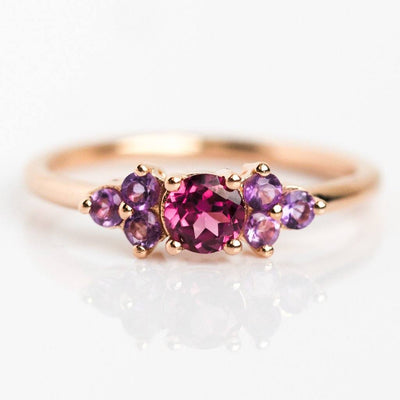 Leah Rhodolite and Amethyst Rose Gold Dainty Ring