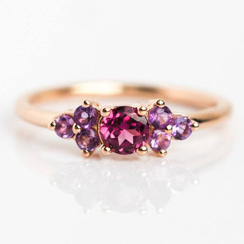 Leah Rhodolite and Amethyst Band - rings - Minette local eclectic