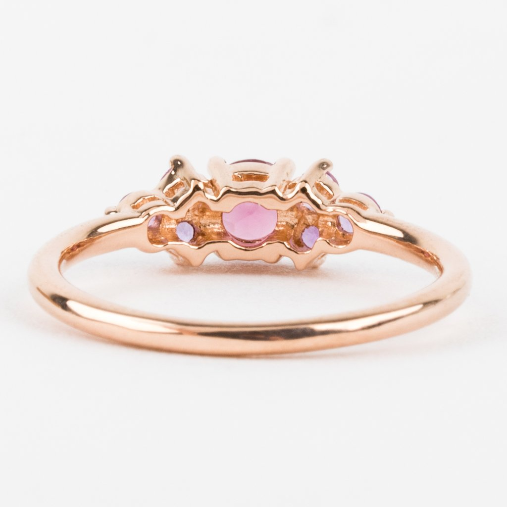 Rose Gold Ring Rhodolite and Amethyst Stone