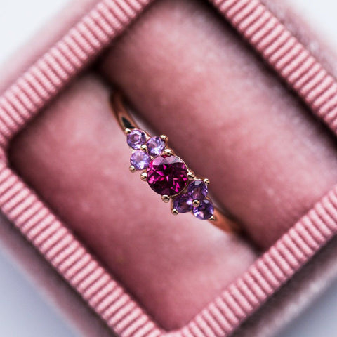 Purple Stone Rose Gold Dainty Ring