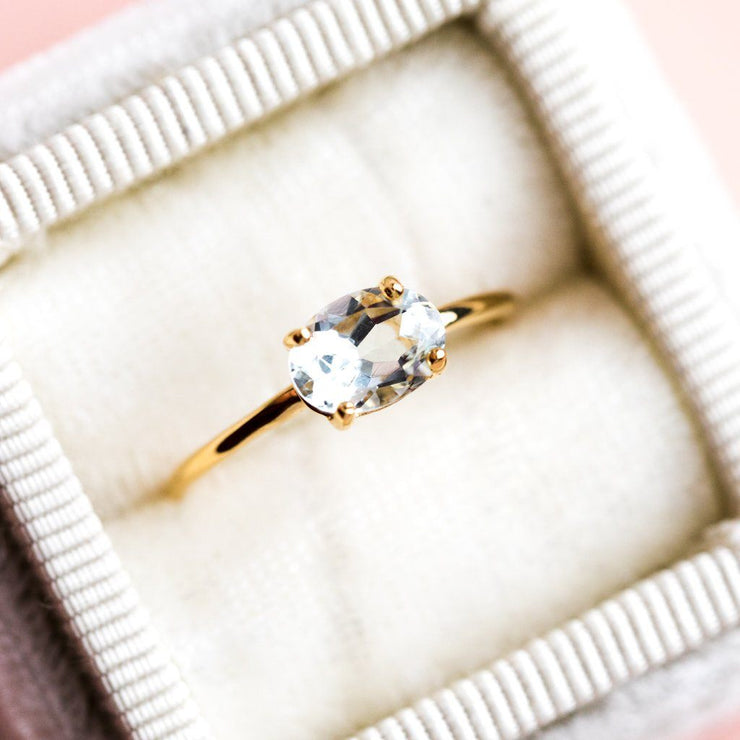 Breanne Aquamarine Band Simple Gold Ring