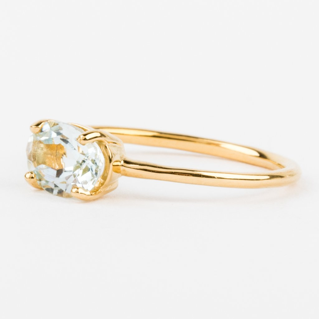 Yellow Gold Band Blue Stone Dainty Ring