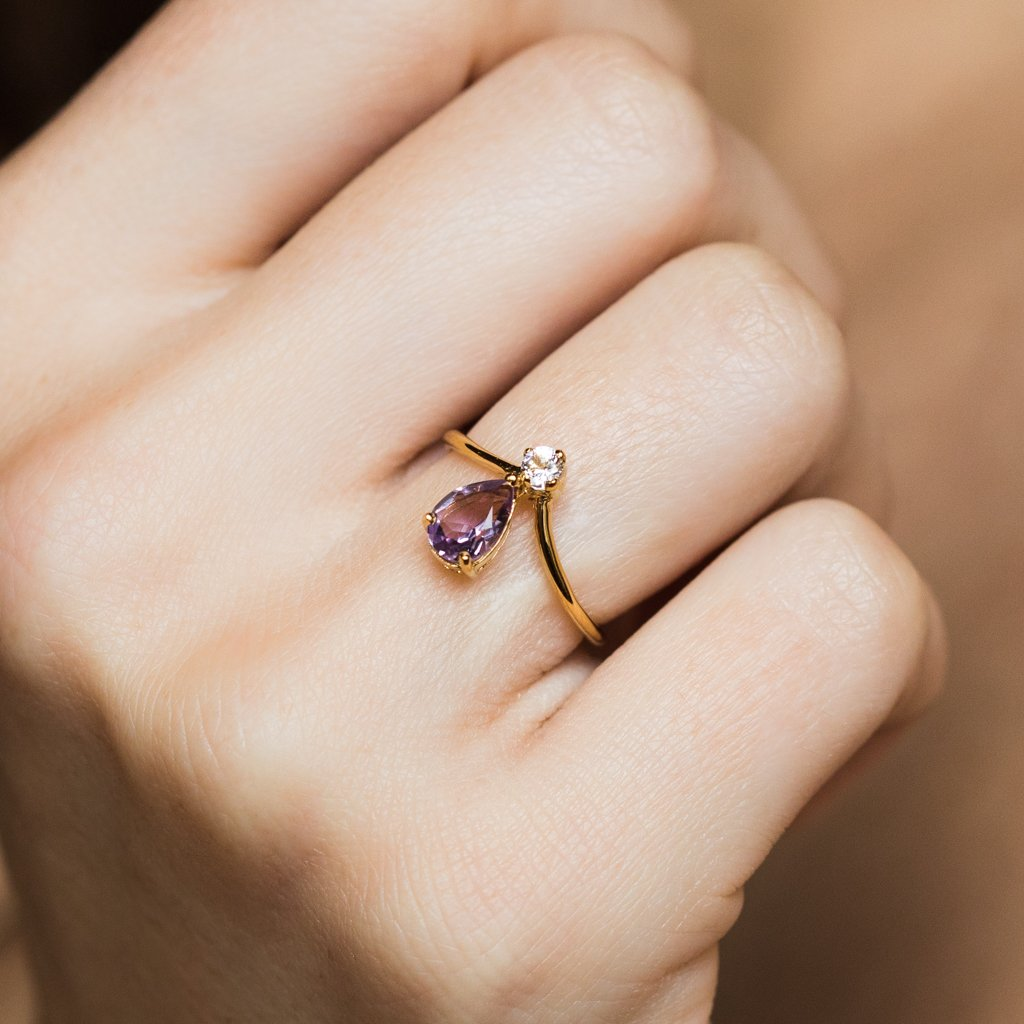 Ariane Amethyst and White Topaz Band - rings - Minette local eclectic