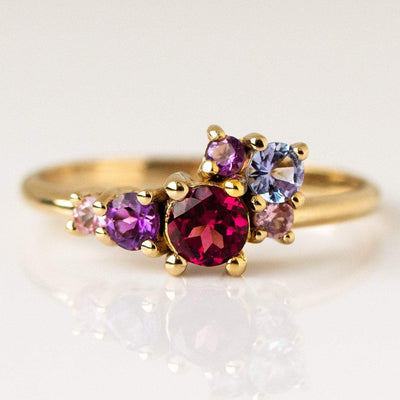Local Eclectic - 14K Yellow Gold Margot Cluster Rhodolite, Sapphire, Tanzanite, Amethyst Ring- Minette