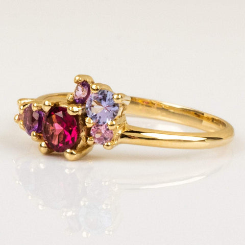 Local Eclectic - 14K Yellow Gold Margot Cluster Rhodolite, Sapphire, Tanzanite, Amethyst Ring - Minette