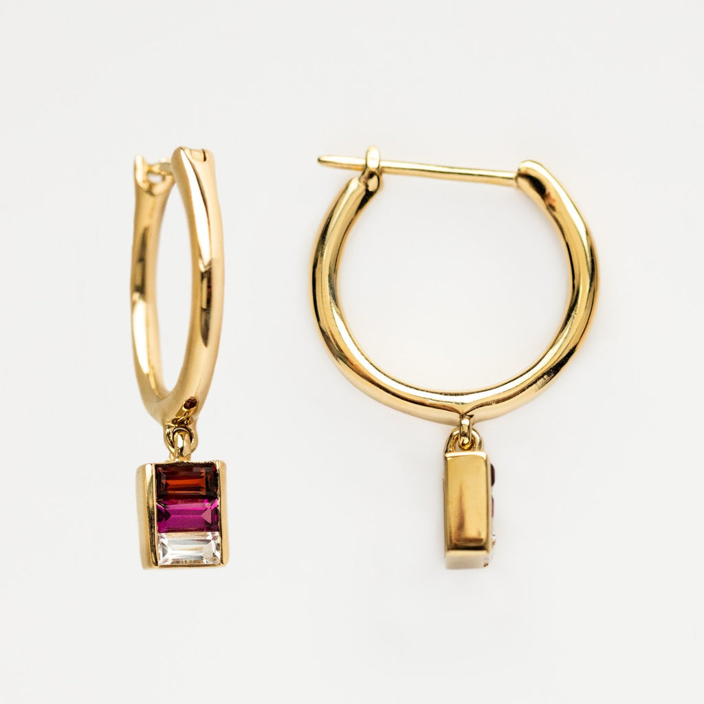 Local Eclectic - 14K Yellow Gold, Rhodolite, Garnet and White TopazAlthea Hoop Earrings - Minette