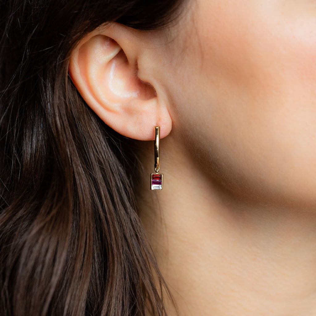 Local Eclectic - 14K Yellow Gold, Rhodolite, Garnet and White Topaz Althea Hoop Earrings - Minette