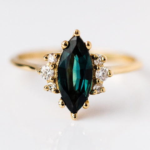 18K Yellow Gold Teal Marquise Sapphire Ring with Diamonds - rings - MinimalVS local eclectic