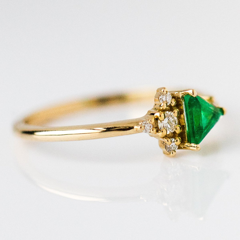 14K Yellow Gold Trillion Emerald with Diamond Cluster Ring - rings - MinimalVS local eclectic