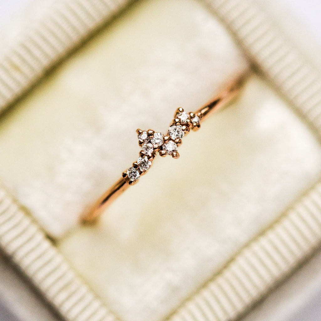 14K Rose Gold Mini Diamond Cluster Ring - rings - MinimalVS local eclectic