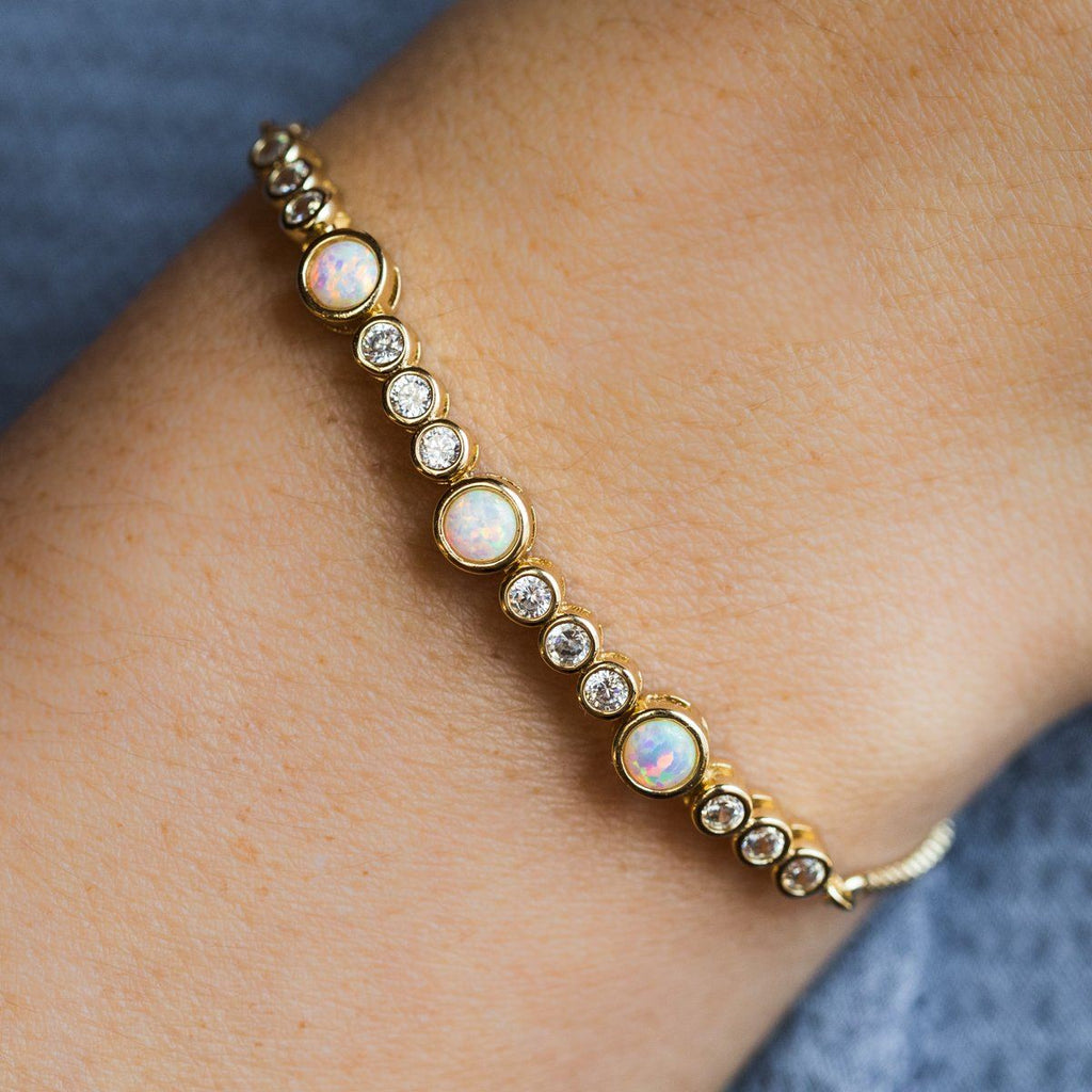 Allison Bracelet in Gold with White Opal and CZ - bracelets - Melinda Maria local eclectic
