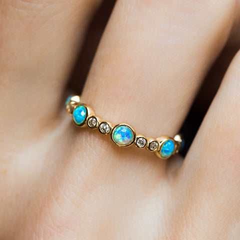 Liz Stacking Ring in Gold with Blue Opal and CZ - rings - Melinda Maria local eclectic