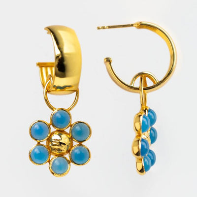 Dina Earrings in Blue Chalcedony yellow gold statement jewelry
