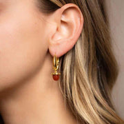 Tina Earrings in Red Onyx yellow gold dangle charm hoop earring mountain and moon