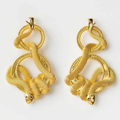 Cleo Drop Earrings unique yellow gold statement jewelry snake serpent inspired mountain and moon