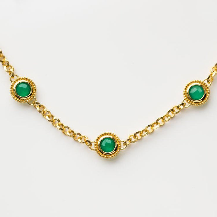 Tijana Necklace in Green Onyx unique chunky yellow gold chain choker necklace