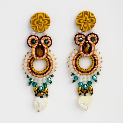 Snake Eye Large Statement Drop Earrings Beaded Musula Jewels