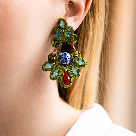 Large Statement Drop Earrings Beading Musula Jewels