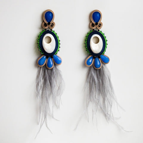 Sky Feather Large Statement Drop Earrings Musula Jewels