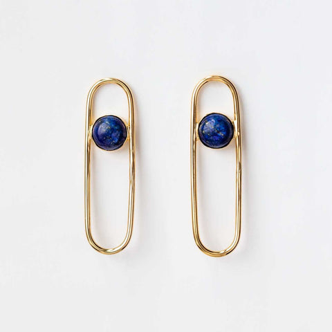 18K Blue Lapiz Gemstone Drop Earrings