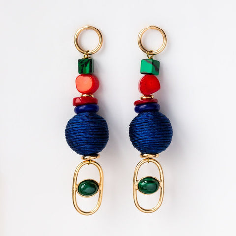18K Coral & Malachite Dangle Earrings