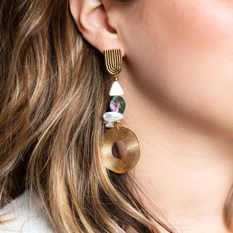 Abalone & Pearl Drop Disk Earrings