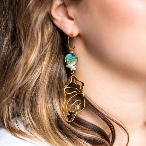 Abalone Hidden Pearl Drop Earrings