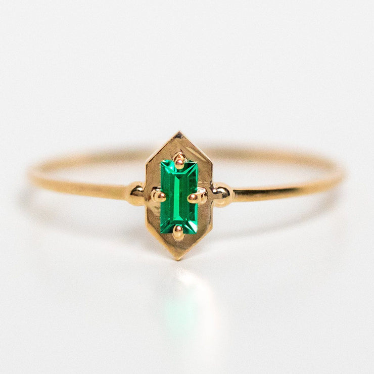 emerald solid yellow gold fine ring dainty emerald jewelry
