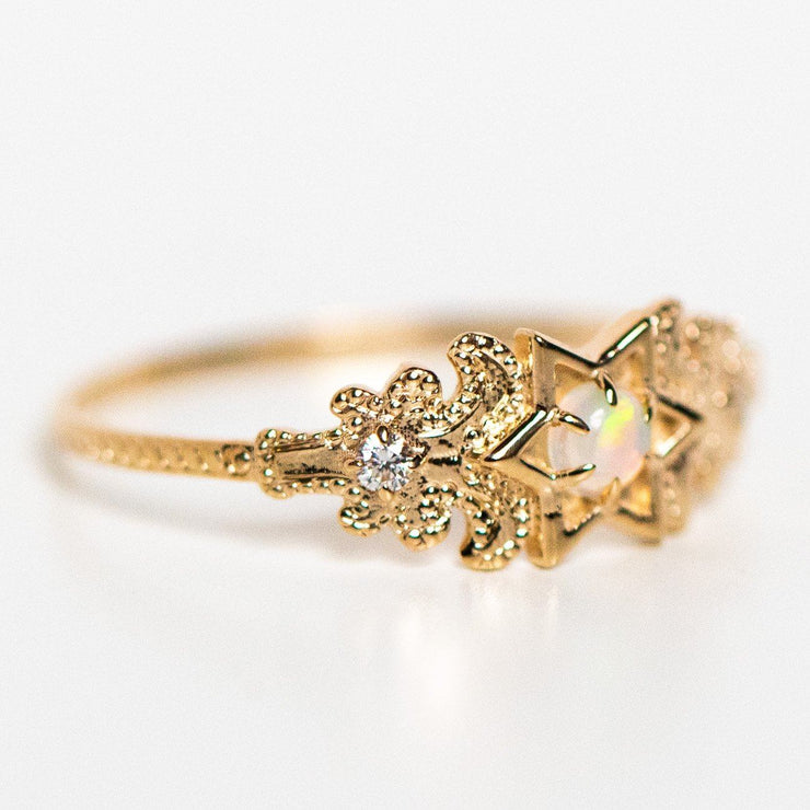 opal solid gold fine north star unique yellow gold diamond ring