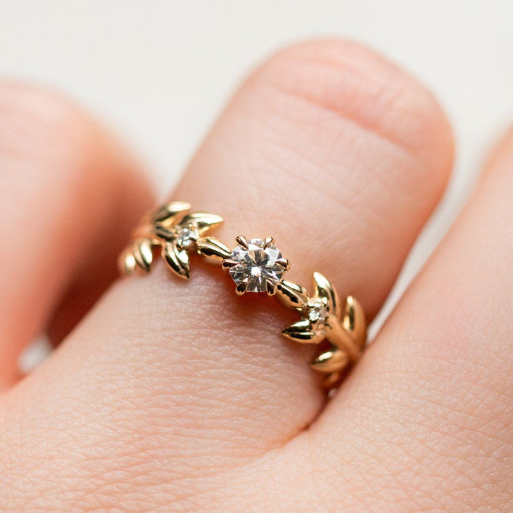 moissanite solid yellow gold 14k fine floral inspired ring