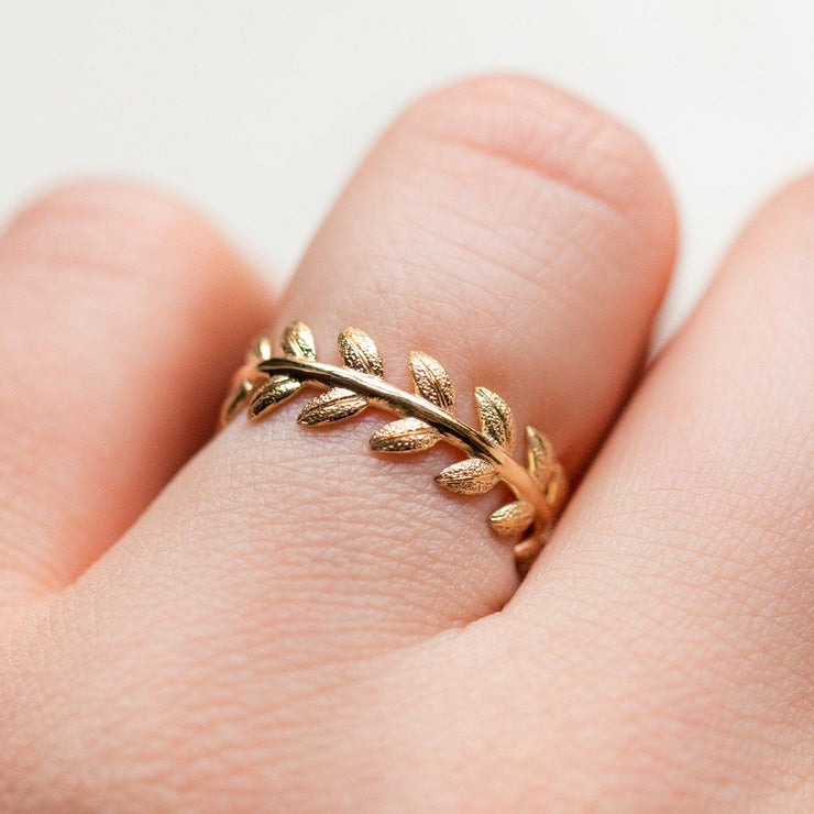 eternity band laurel leaf ring unique solid yellow gold fine jewelry