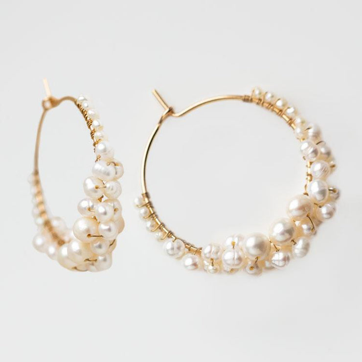Cruz Pearl Hoop Earrings freshwater pearl modern yellow gold olive and piper jewelry