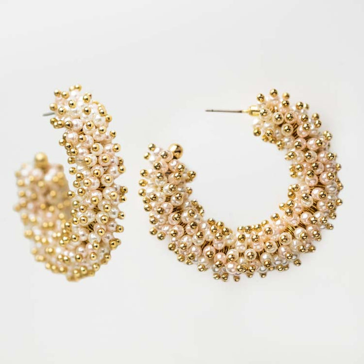 Phila Hoop Earrings unique statement pearl hoops yellow gold olive and piper jewelry
