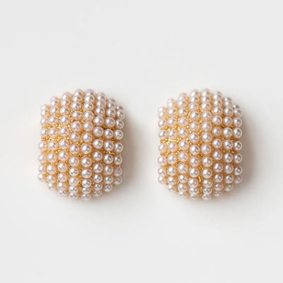 Jordan Pearl Stud Earrings unique statement studs modern yellow gold jewelry olive and piper