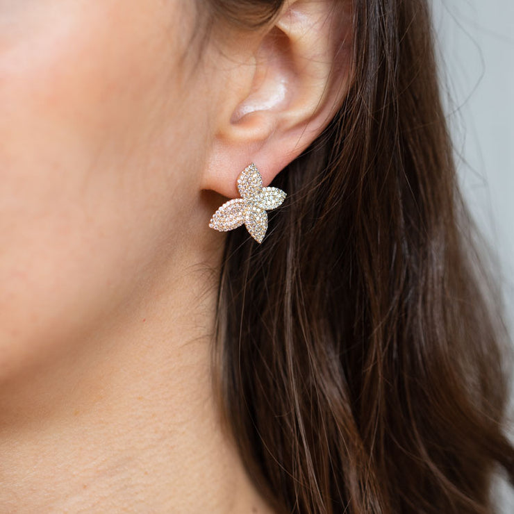 Mini Primrosetta Earrings butterfly inspired yellow gold statement stud jewelry olive + piper