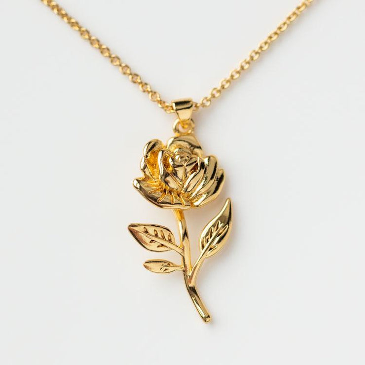 Rosa Pendant Necklace yellow gold floral inspired olive and piper jewelry