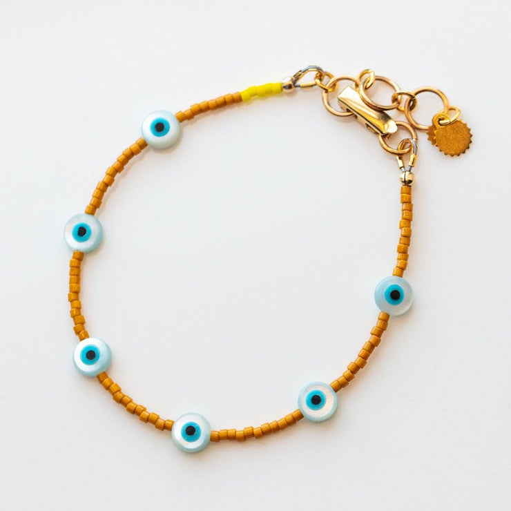 Evil Eye Beaded Bracelet in Marigold glass bead handmade unique jewelry