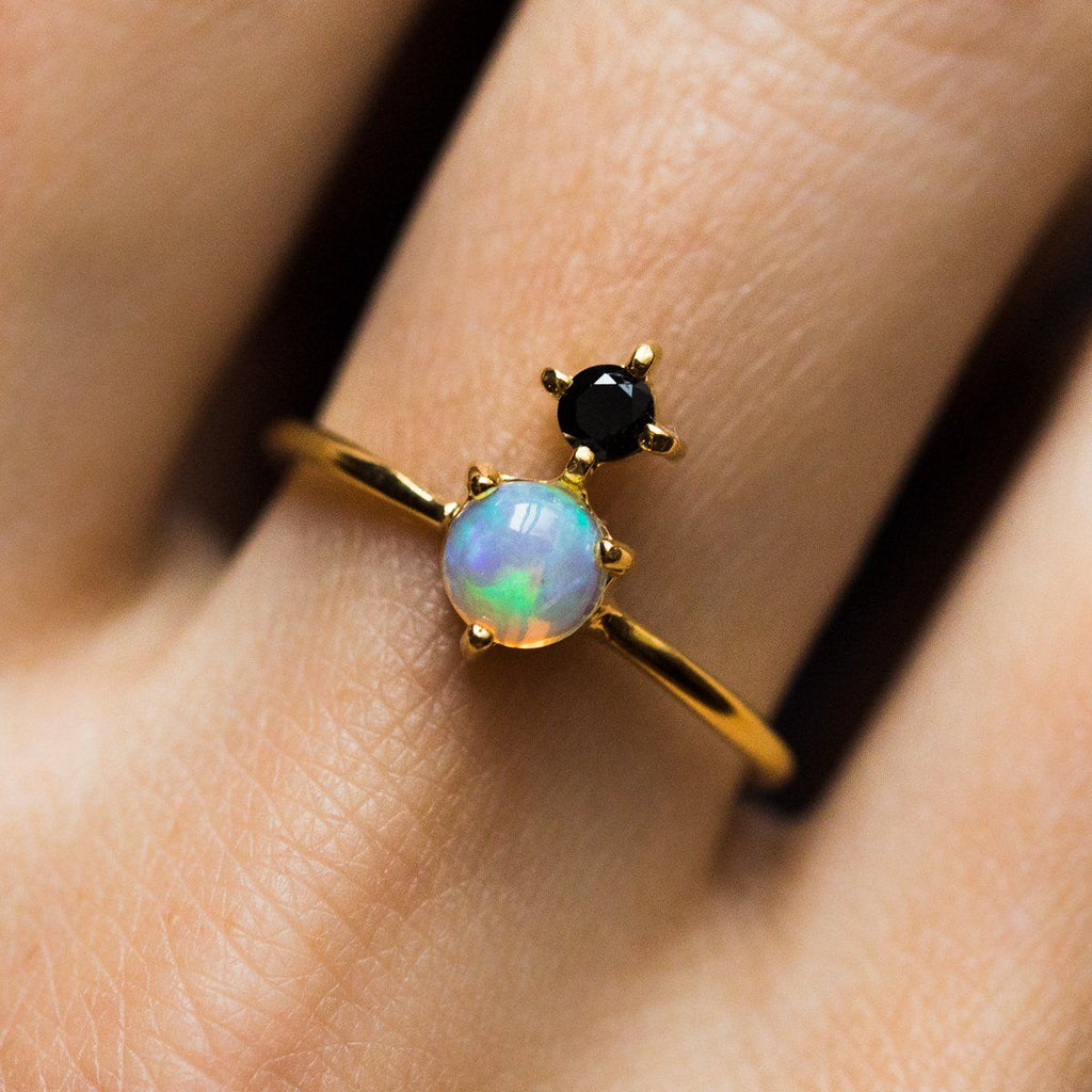 Opal & Black Garnet Ring - rings - Leah Alexandra local eclectic