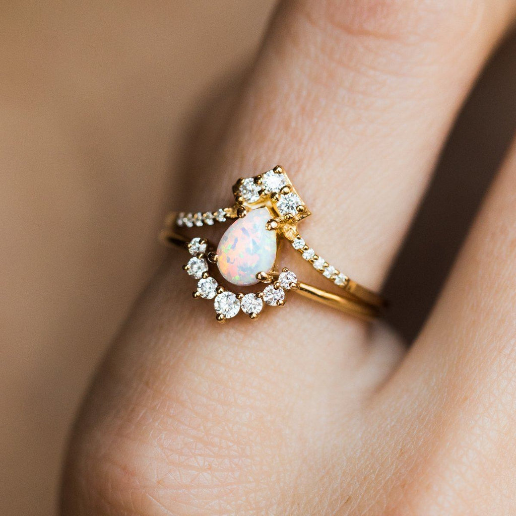 "La Kaiser Opal and Diamond ""Carpe Diem"" Gold Ring Stack"