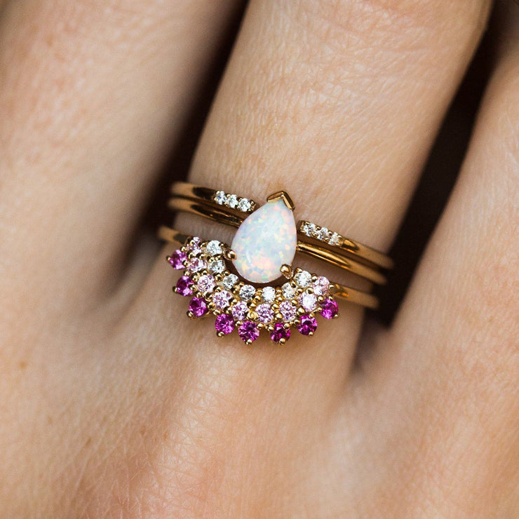 Opal & Pink Diamond Exotic Sunrise Stacking Ring Set - rings - La Kaiser local eclectic