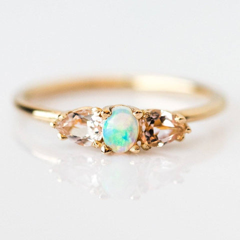 Opal with Morganite Petals Ring - rings - LUMO local eclectic