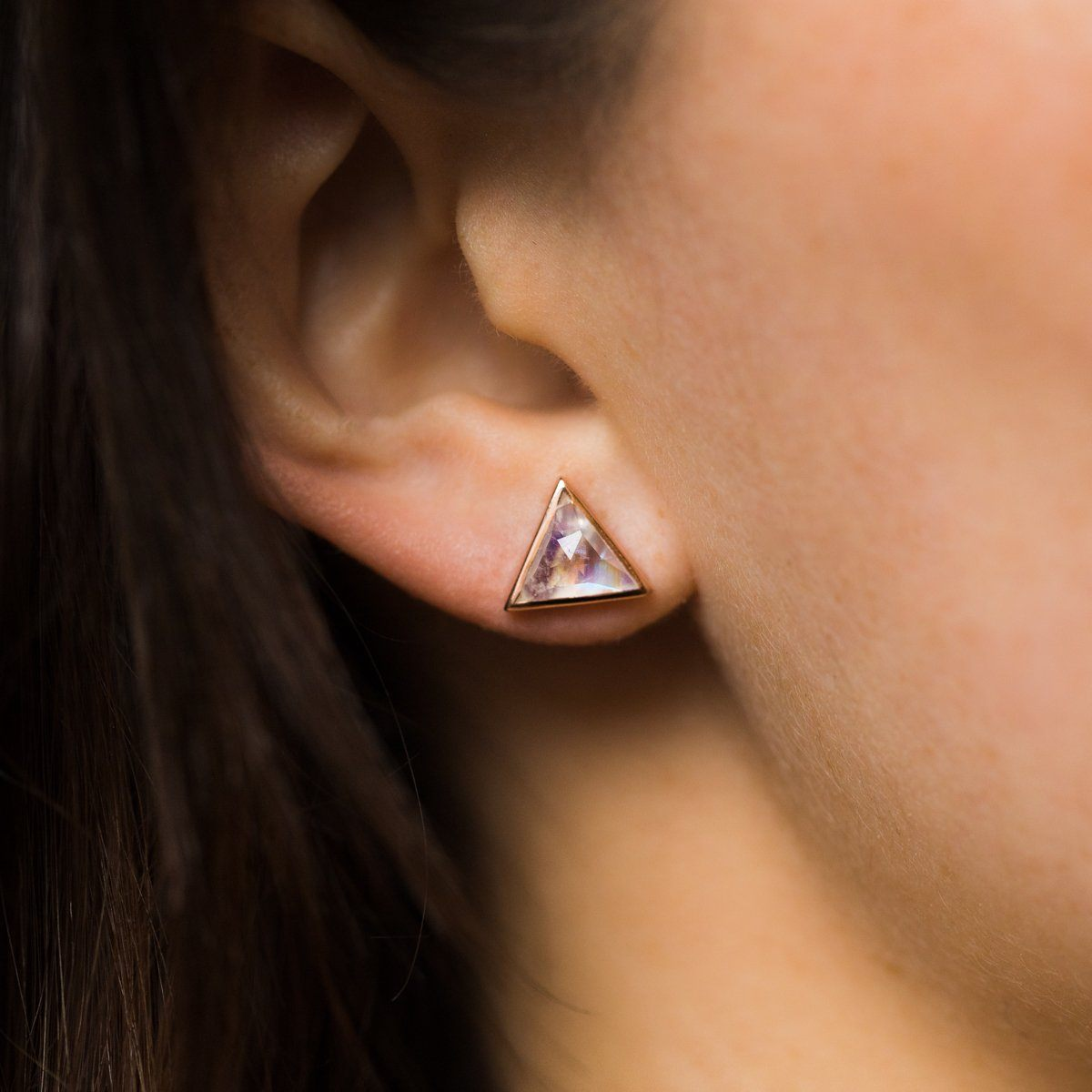 846bfd1d Rose Gold Moonstone Triangle Earrings
