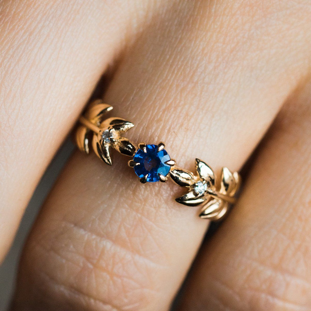 Royal Baby Blue Sapphire Goddess Ring - rings - Nora Sermez local eclectic