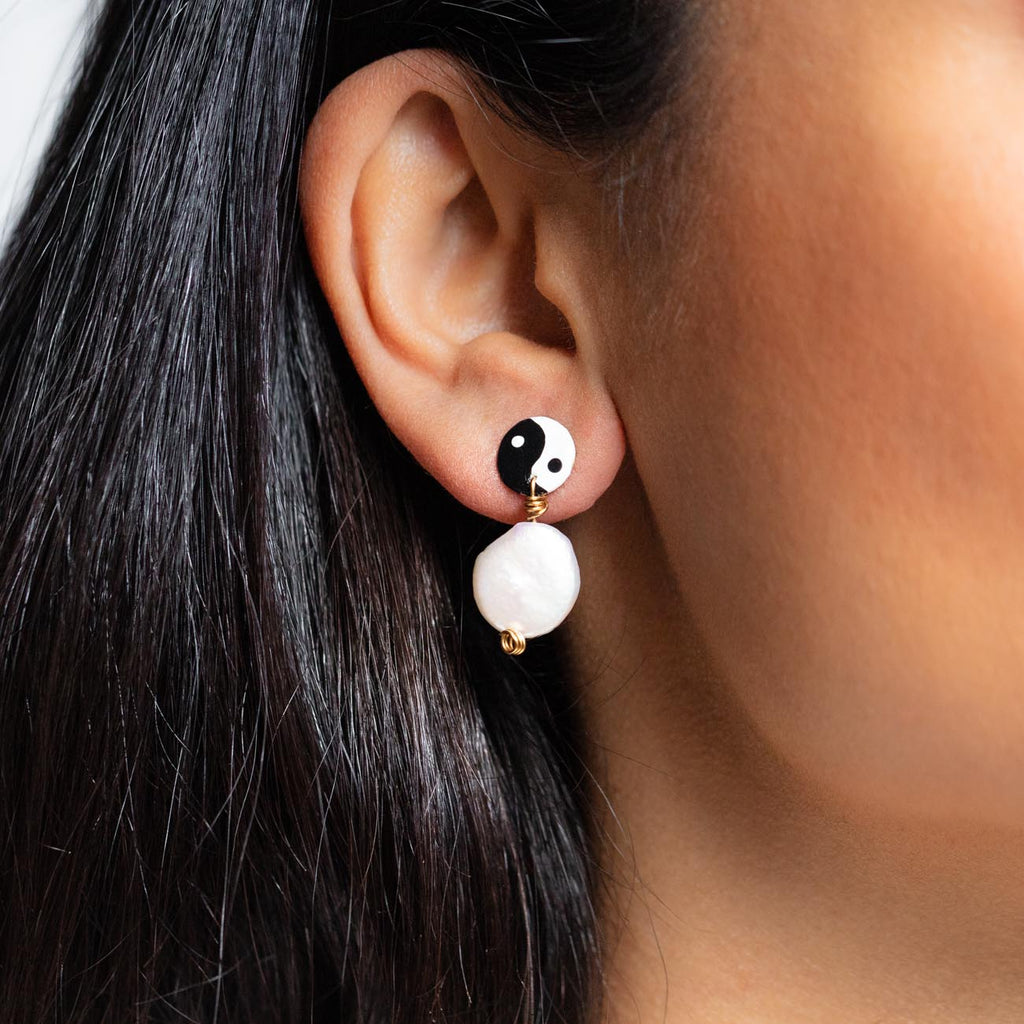 Pearly Yin Yang Earrings unique pearl statement stud earrings