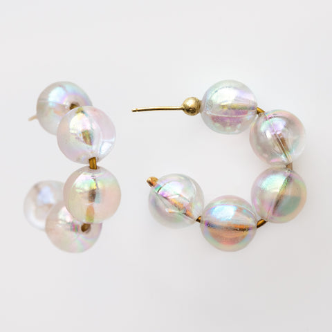 October Opal Hoop Earrings unique statement colorful chunky beaded hoops