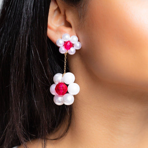 Gigi Earrings unique statement daisy floral dangle earrings