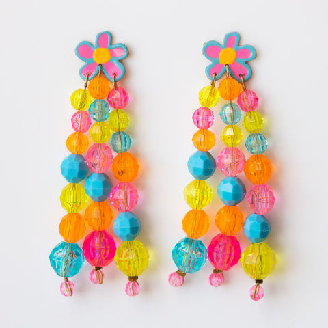 Posey Earrings statement dangle beaded jewelry floral earrings