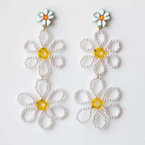 Daisy Chain Earrings unique statement dangle beaded jewelry